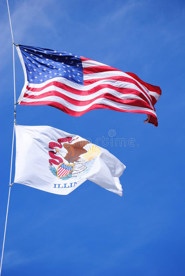 Download USA And Illinois Flags In The Wind Stock Image - Image: 18787835
