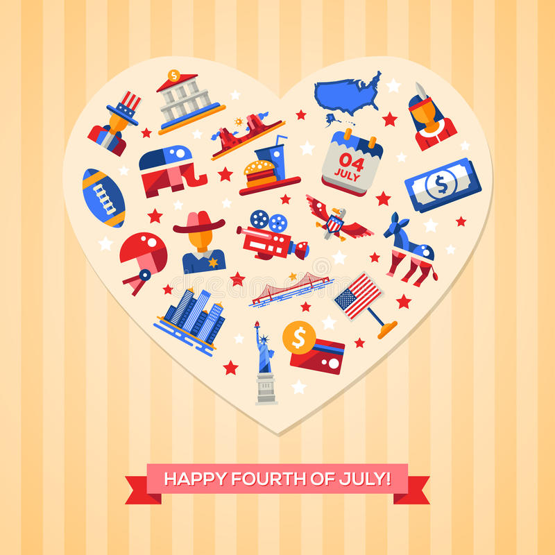 Usa Independence Day Greeting Card Stock Vector Illustration Of