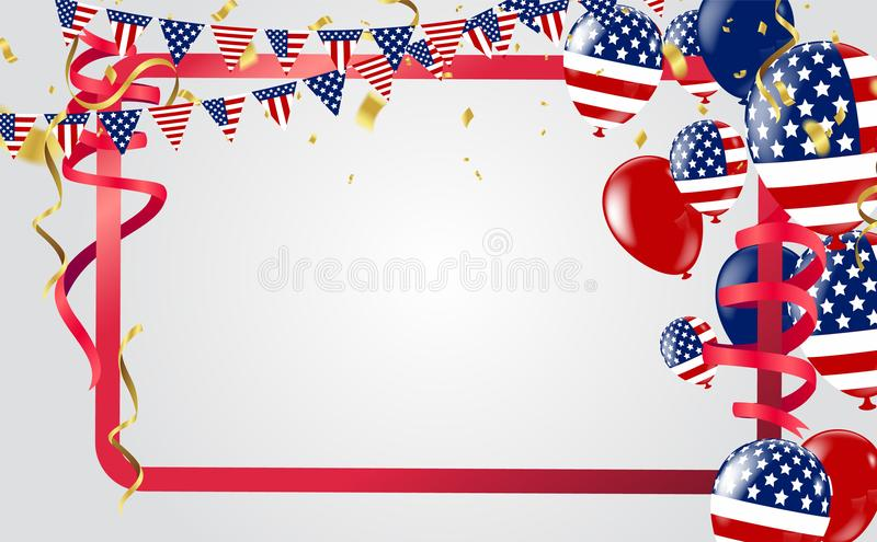 USA Independence day poster with Balloons Flag USA . illustration background stock illustration