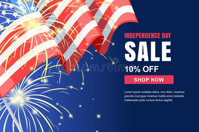 USA Independence Day sale vector banner template. Holiday background with flag, fireworks. 4 of July celebration concept stock illustration