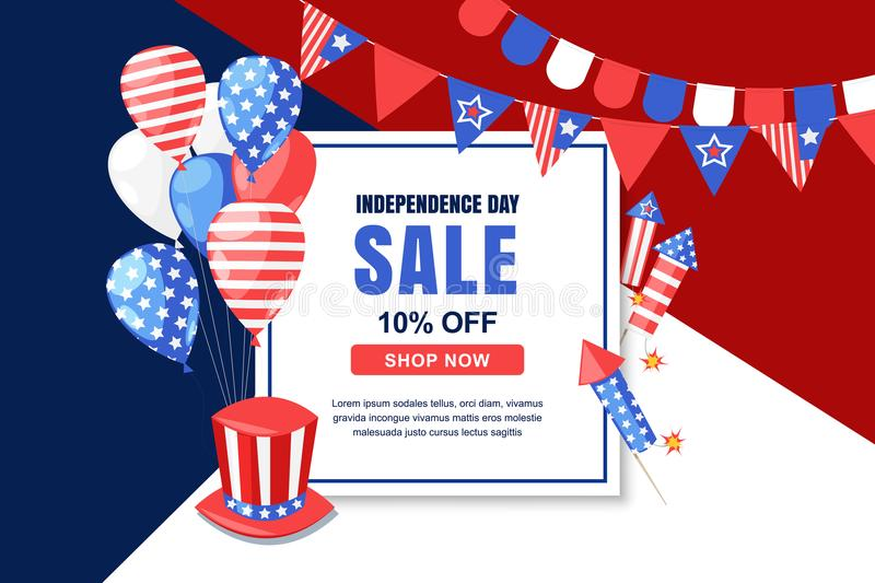 USA Independence Day sale vector banner template. 4 of July celebration concept. Holiday multicolor background stock illustration