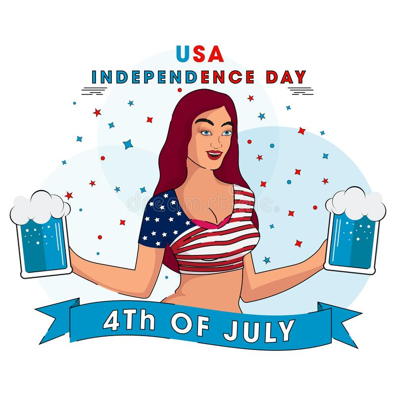 USA Independence Day template or poster design with young girl in American flag royalty free illustration