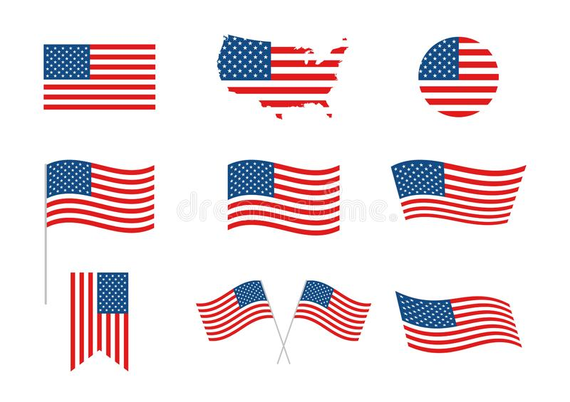 USA Independence Day 4th of July holiday. United states of America flag. Independence day elements, banner, map, flag. Memorial. USA Independence Day 4th of July stock illustration