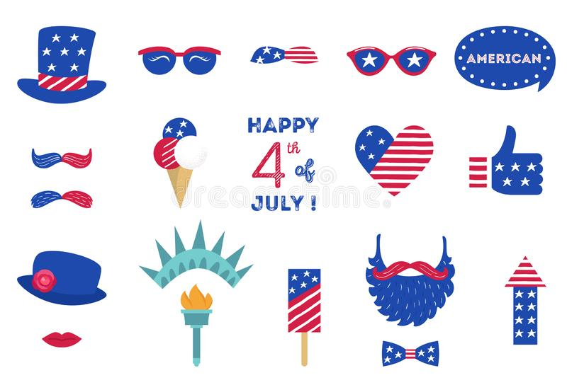 USA Independence Day 4 th of July Photo Booth Party Props of American Symbols vector illustration