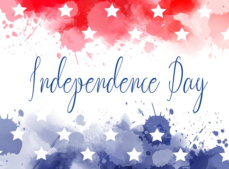 USA Independence day watercolor splashes background stock illustration