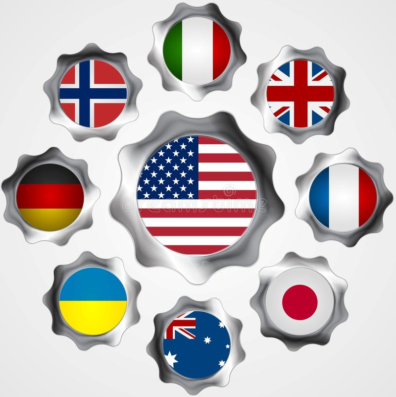 USA influence. Metal gears and flags. Vector background vector illustration