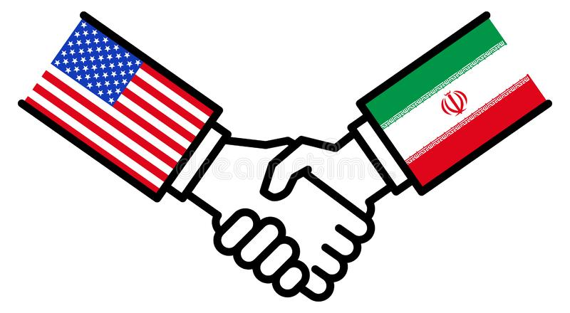 USA IRAN business deal, trade agreement, handshake, peace, concept, graphic. Isolated on white background stock illustration