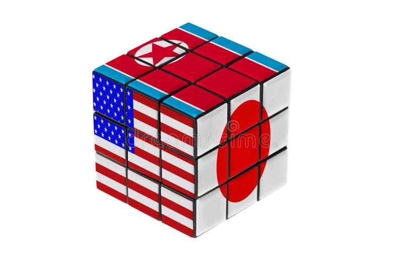USA, Japan and North Korea flag puzzle shape. stock photo