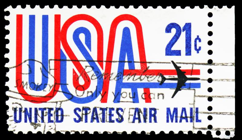 `USA` and Jet, Airmail serie, circa 1971. MOSCOW, RUSSIA - FEBRUARY 10, 2019: A stamp printed in United States shows `USA` and Jet, Airmail serie, circa 1971 stock photos
