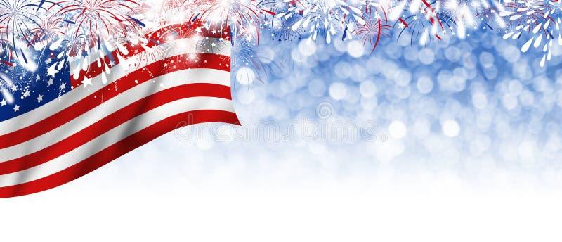 USA 4 juli självständighetsdagendesign av den Amerika flaggan och fyrverkerier royaltyfri illustrationer