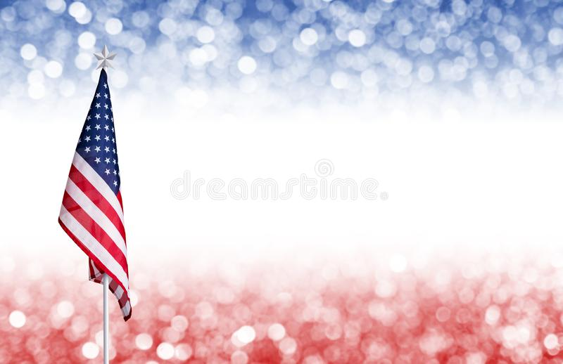 USA 4 july independence day background design. USA 4 july independence day design of American flag and bokeh background with copy space and other celebration royalty free stock photos