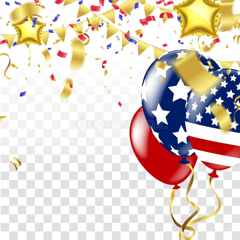 USA 4 july independence day design vector illustration balloons. Balloons and confetti vector illustration