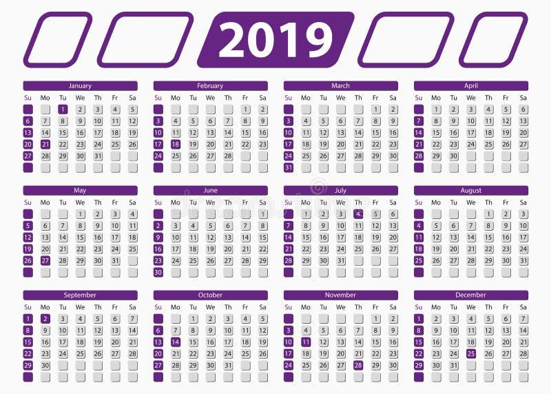 USA kalender 2019 med officiella ferier, 5x7 in royaltyfri illustrationer