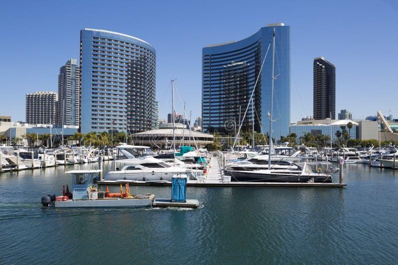 USA - Kalifornien - San Diego - embarcadero Jachthafenpark und Marriott-Marquis stockbilder