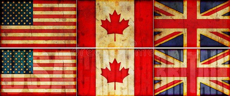 USA-, Kanada-u. Großbritannien-Grunge Markierungsfahnen-Abbildung-Set stock abbildung