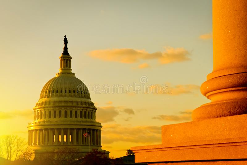 USA Kapitałowy budynek przy zmierzchem, Waszyngton, DC obraz stock