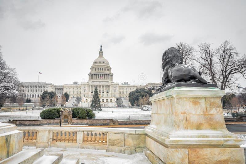 USA-Kapitolium i Washington DC på vintern arkivbild