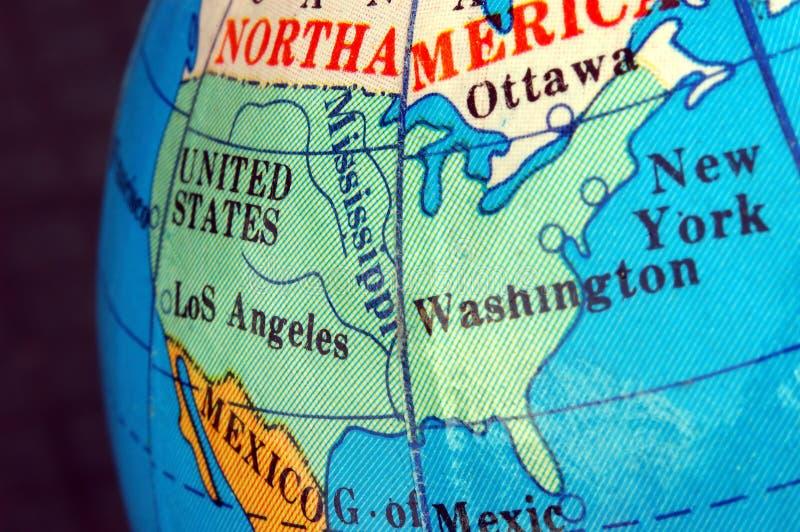 USA-Karte Auf Kleiner Terrestrischer Kugel Lizenzfreies Stockbild