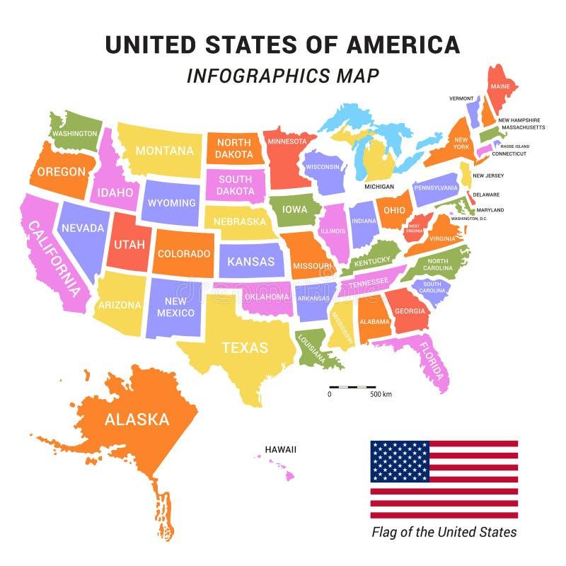 USA-Karte infographics stockfotos