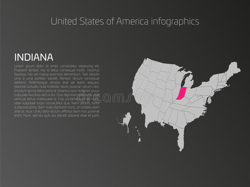 USA-Karte infographics Schablone mit hervorgehobenem Indiana lizenzfreie abbildung