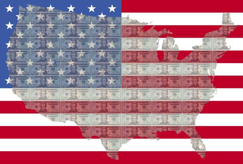 USA-Karte mit 20 Dollarscheinen vektor abbildung