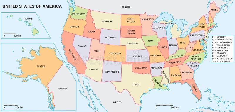 USA-Karte mit Bundesländern lizenzfreie stockfotos