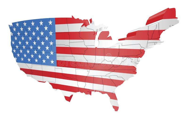USA-Karte und Markierungsfahne lizenzfreie abbildung