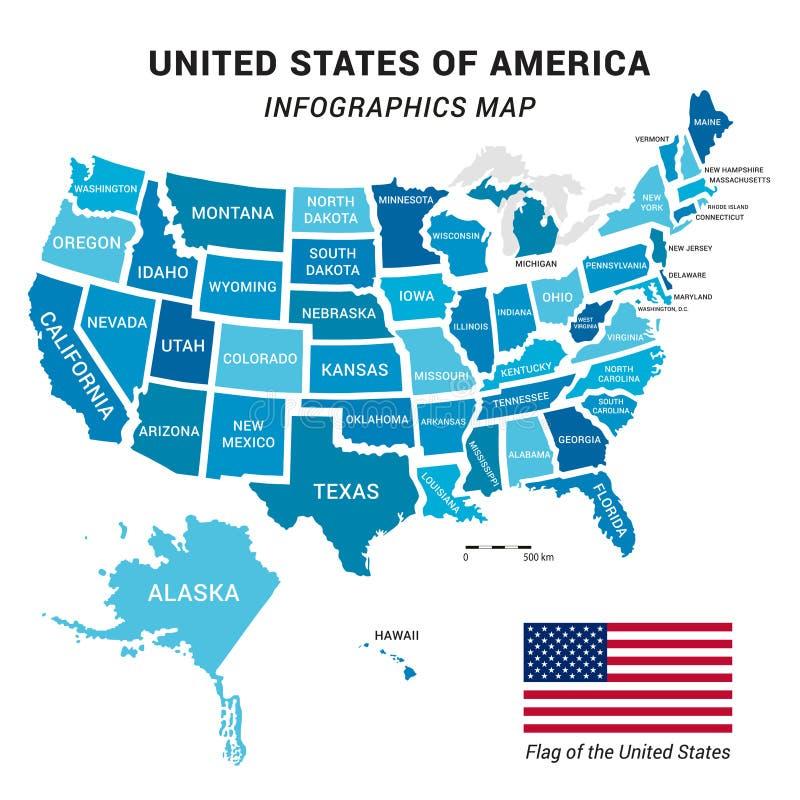 USA-Karte und Markierungsfahne stockfoto
