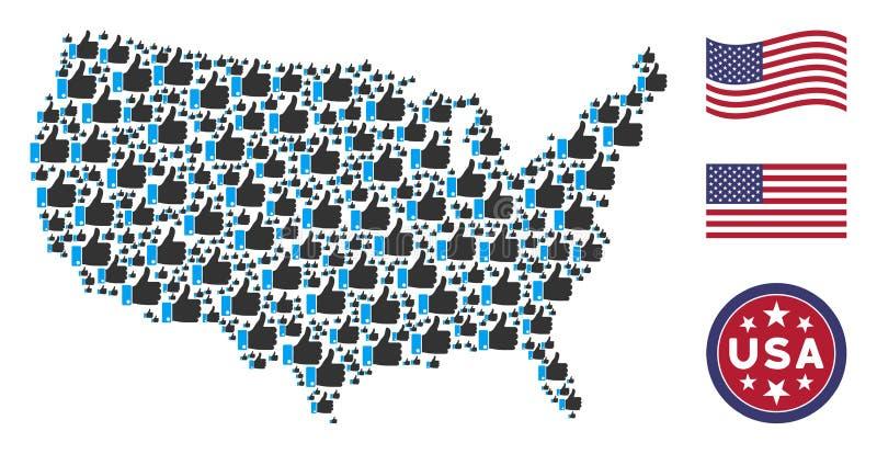 USA-Karten-Collage des Daumens oben vektor abbildung