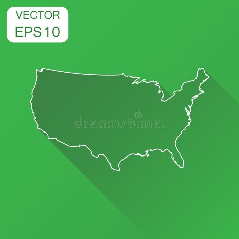 USA-Kartenikone Geschäftskartographie-Konzeptentwurf Vereinigte Staaten stock abbildung