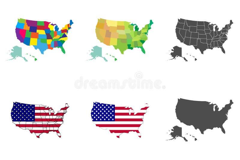 USA-Kartensatz Karte der Sammlungs-Vereinigten Staaten von Amerika stock abbildung