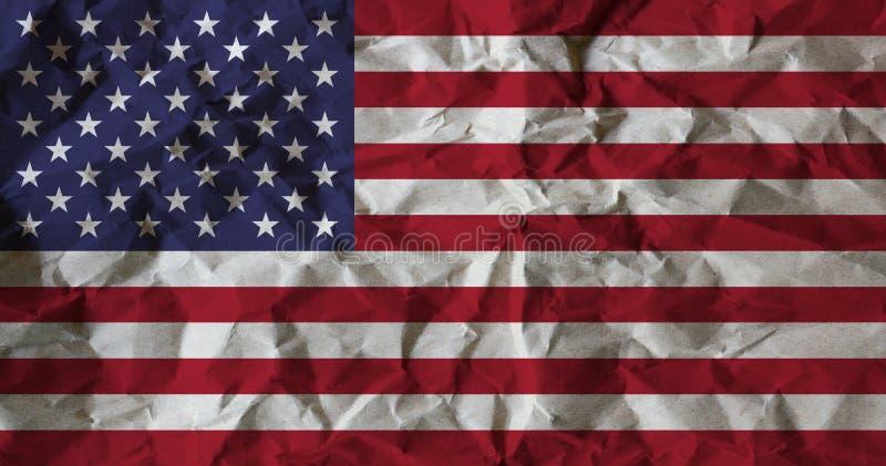 USA kennzeichnen auf zerknittert aufbereiten Papierhintergrund lizenzfreie abbildung