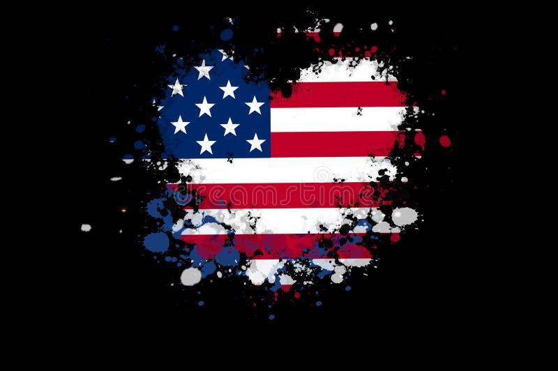 USA kennzeichnen in einer Form eines Herzens mit Farbe spritzt auf schwarzes BAC lizenzfreie abbildung