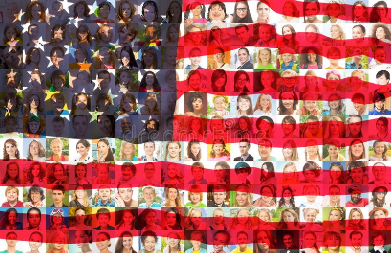 USA kennzeichnen mit Porträts von amerikanischen Leuten lizenzfreie stockfotos