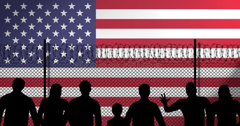 USA kennzeichnen sichern hinten Zaun stock abbildung