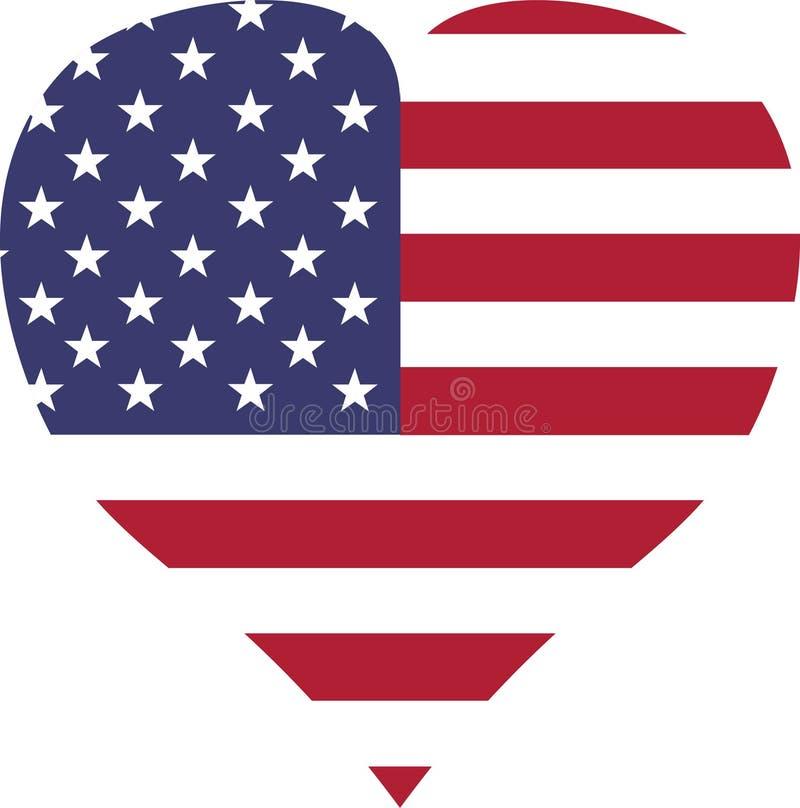 USA kennzeichnen weiße rote Streifenherzform vektor abbildung