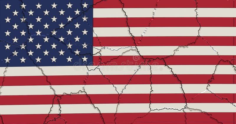 USA kennzeichnen zerquetscht und geknackt vektor abbildung