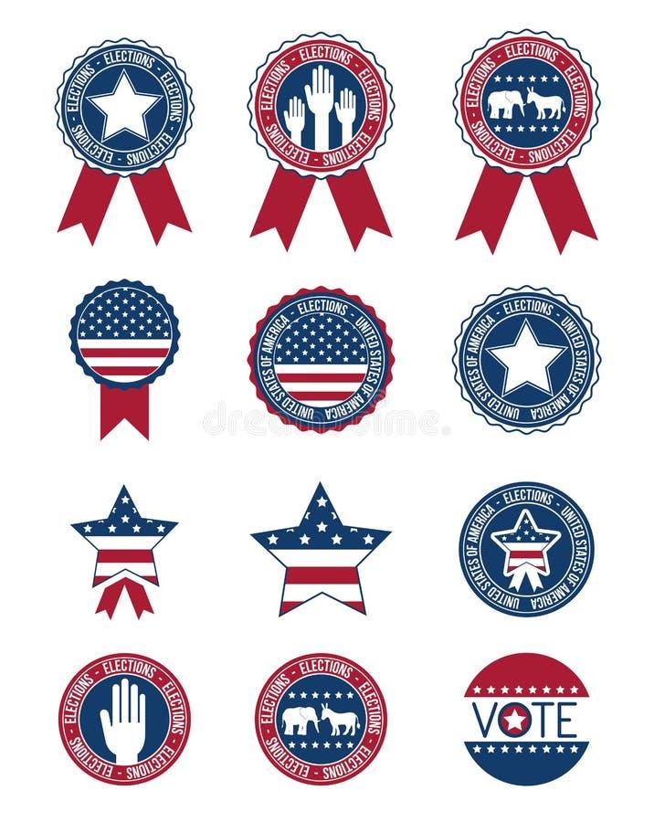USA-knappar och skyddsremsastämplar av röstar begrepp royaltyfri illustrationer