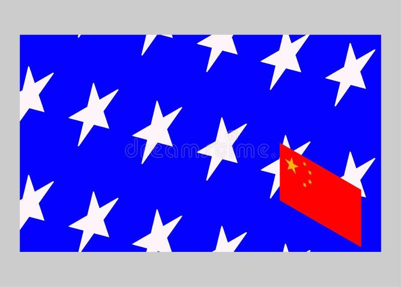 USA kontra Kina Kinesisk flagga och amerikanska flaggan stock illustrationer