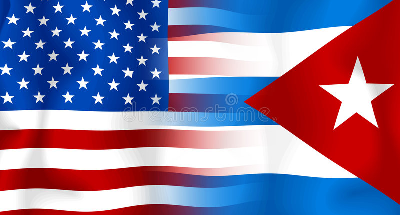USA-Kuba Markierungsfahne Lizenzfreies Stockbild