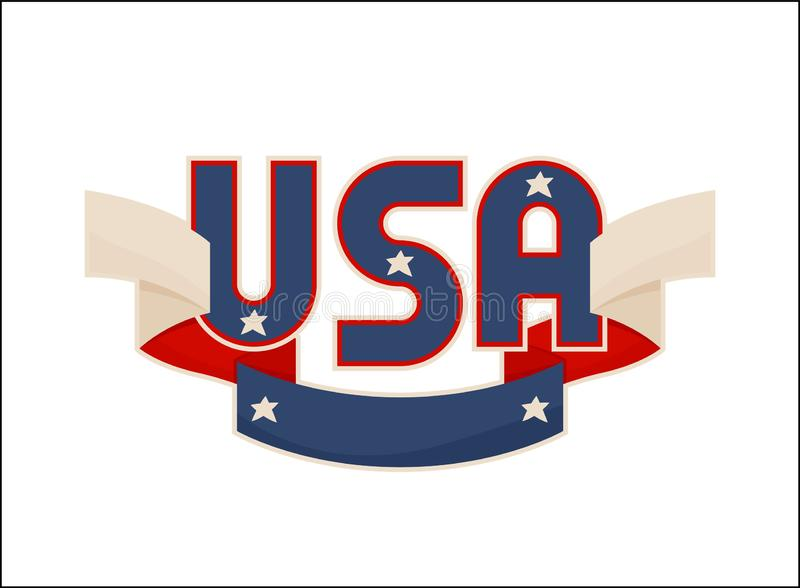 USA Label with National American Symbolism Banner vector illustration