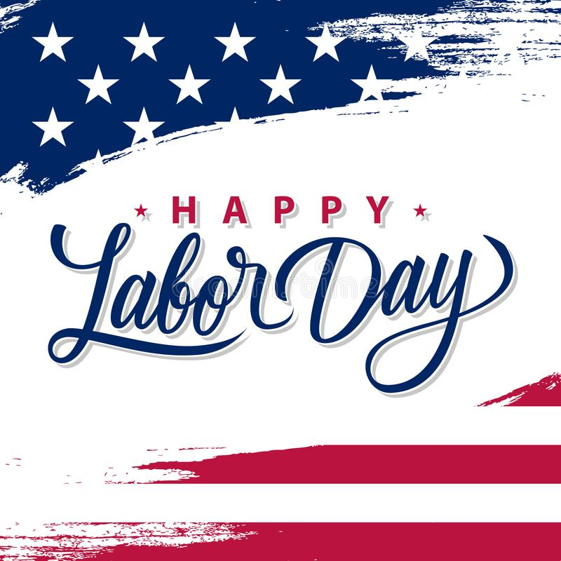Free USA Labor Day Greeting Card With Brush Stroke Background In United States National Flag Colors And Hand Lettering Text. Stock Images - 122488154