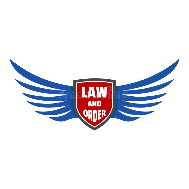 Usa law and order logo icon, flat style stock illustration