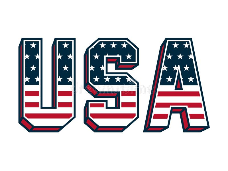 USA Lettering with United States flag. Vector Illustration. United States Flag in USA Letter