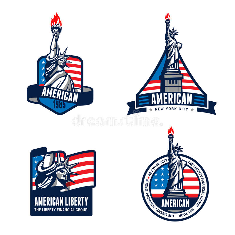 USA Liberty Statue Logo Badge design. 4th July Independence day vector illustration