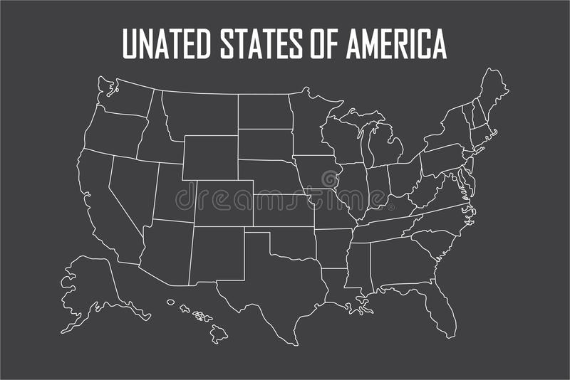 USA Linear Map With State Boundaries Blank White Contour Isolated