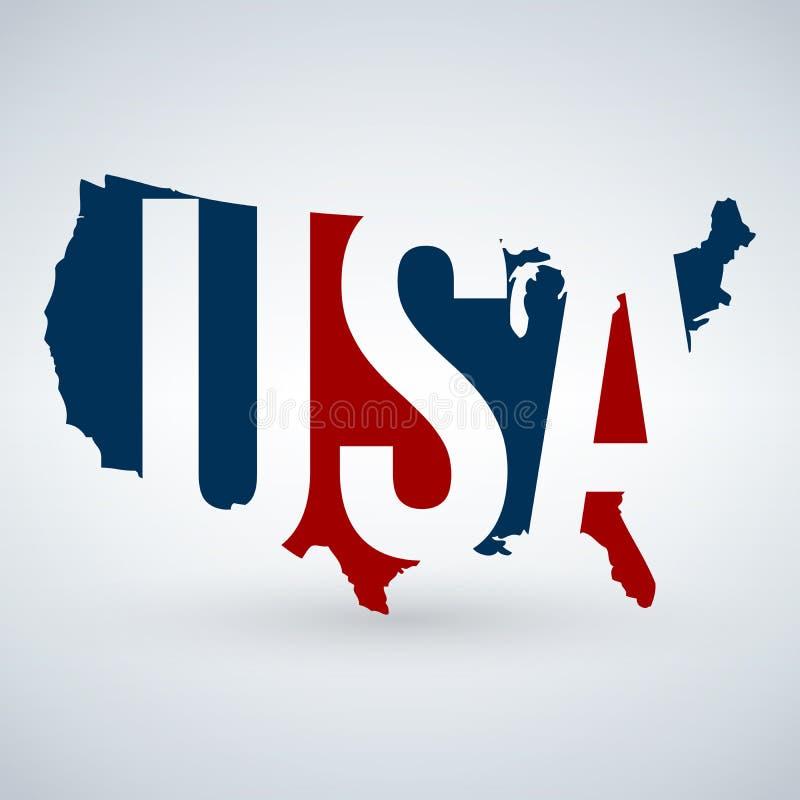 USA-logo eller symbol med USA bokstäver över översikten, Amerikas förenta stater Blått och rött färgar Vektorillustration som iso royaltyfri illustrationer
