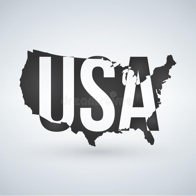 USA-logo eller symbol med USA bokstäver över översikten, Amerikas förenta stater Vektorillustration som isoleras på modern bakgru royaltyfri illustrationer