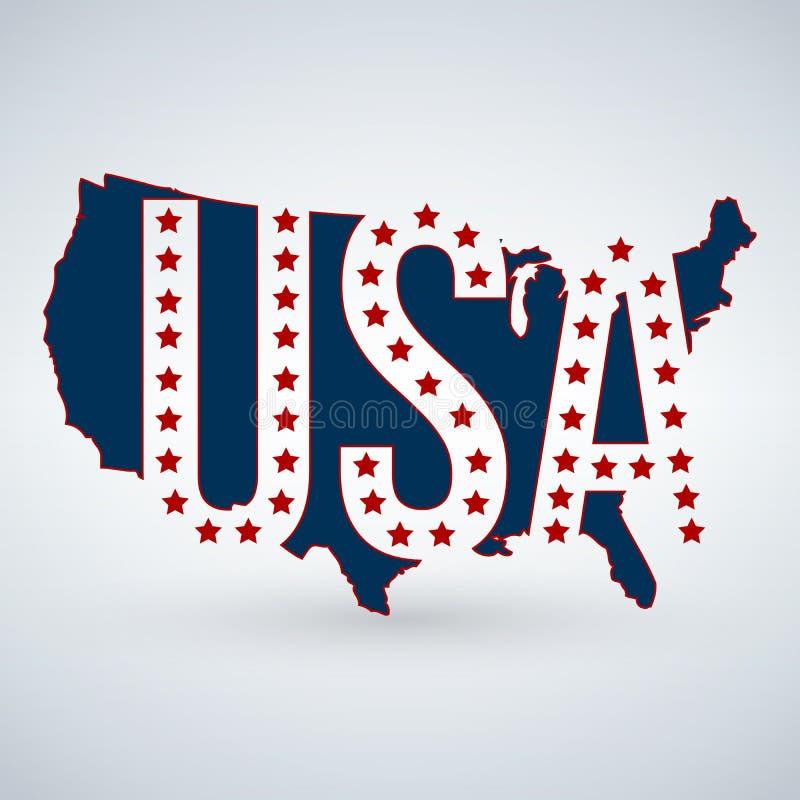 USA-logo eller symbol med USA bokstäver över översikten och 50 stjärnor, Amerikas förenta stater Vektorillustration som isoleras  royaltyfri illustrationer