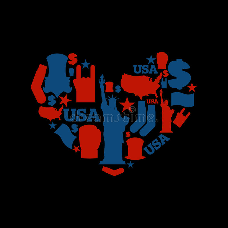 USA love. Sign heart of United States traditional folk character stock illustration